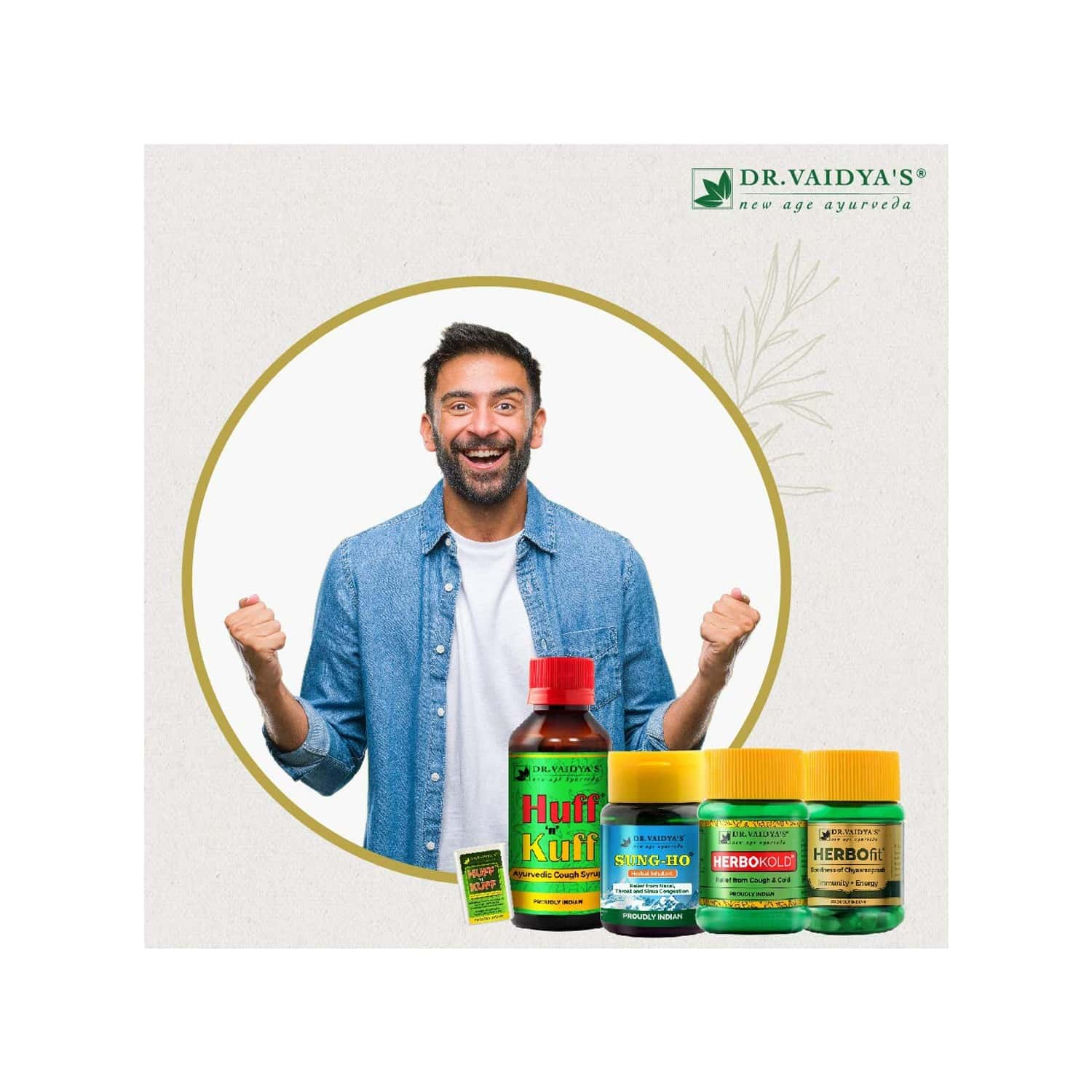 Dr. Vaidya's Viral Immunity Pack | Boost Immunity & Stay Fit Naturally | Herbofit (30 Capsules X 1) Sung-ho (10 Gms X 1) Huff N Kuff Syrup (100ml X 1) Huff N Kuff Lozenges (50 Pills X 1) Herbokold (50 Gms X 1)