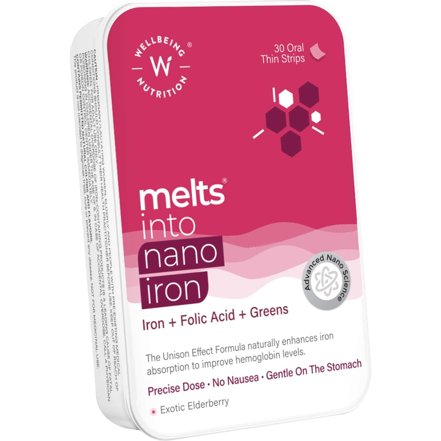 Wellbeing Nutrition Melts Nano Iron - 30 Oral Strips Box