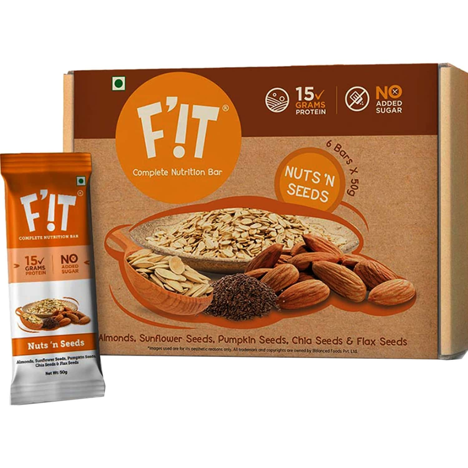 F'it Nutrition Bar - Nuts N Seeds (pack Of 6)
