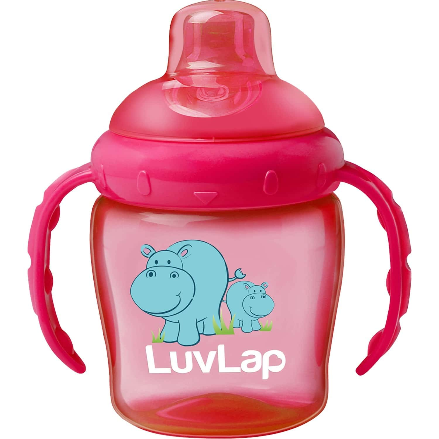 Luvlap Hippo Spout Sipper For Infant 225ml Anti-spill Sippy Cup With Soft Silicone Spout 6m+ (pink)