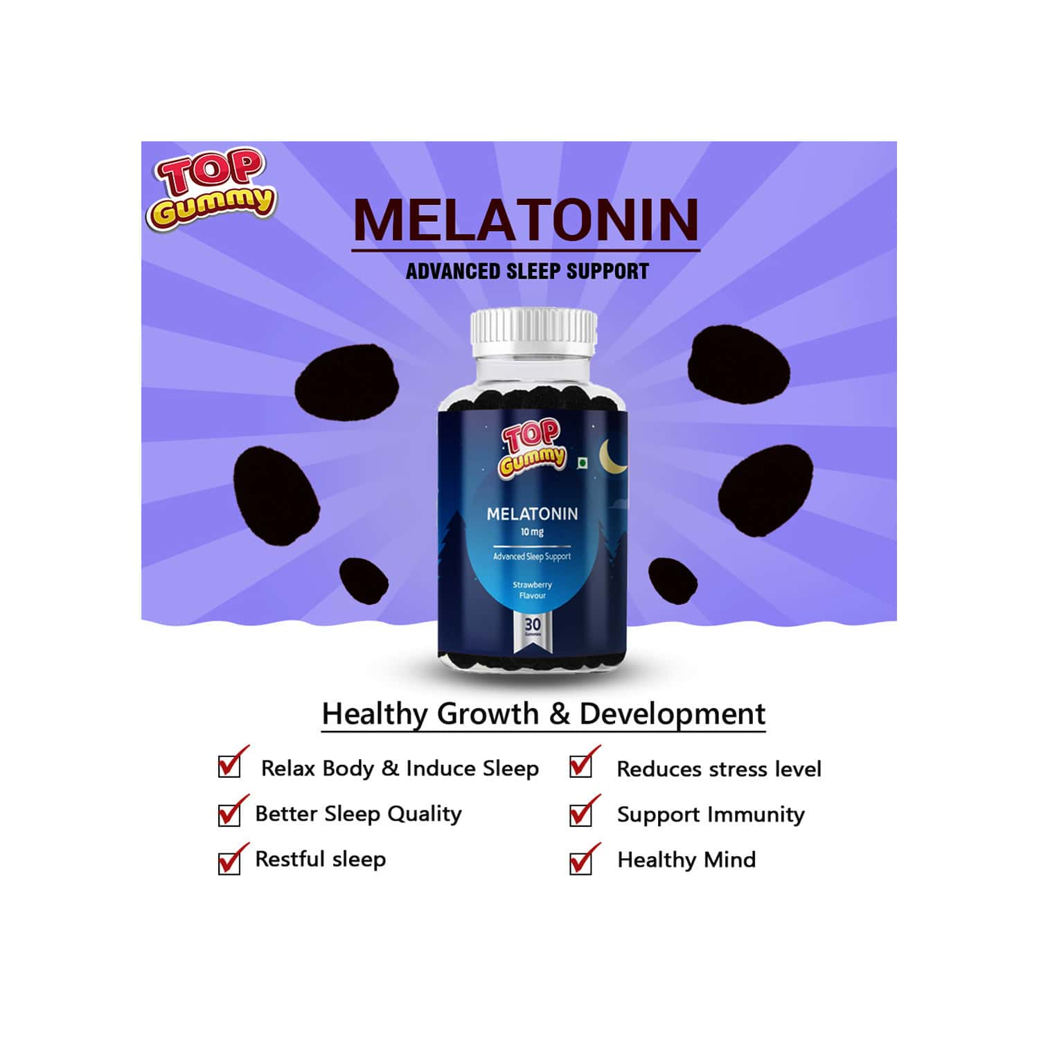 Top Gummy Melatonin 10mg Advanced Sleep Support ( Strawberry Flavour ) -30 Gummies